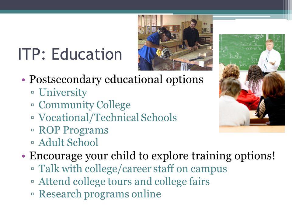 ITP: Education Postsecondary educational options ▫University ▫Community College ▫Vocational/Technical Schools ▫ROP Programs ▫Adult School Encourage yo