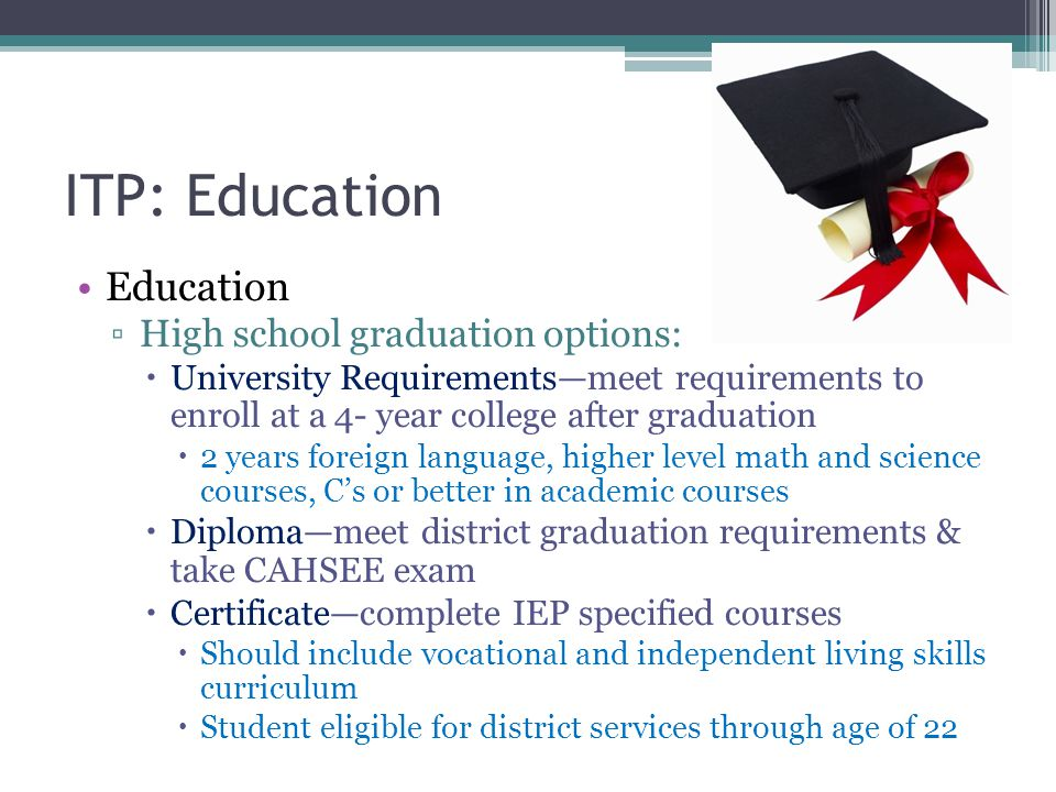 ITP: Education Postsecondary educational options ▫University ▫Community College ▫Vocational/Technical Schools ▫ROP Programs ▫Adult School Encourage your child to explore training options.
