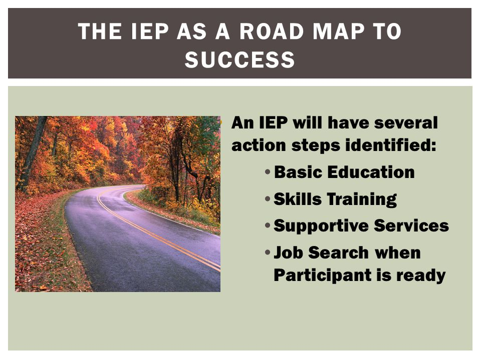 THE IEP AS A ROAD MAP TO SUCCESS  The IEP documents expectations, benchmarks, and timelines for the journey..Timelines allow the participant to know when an activity should be completed.