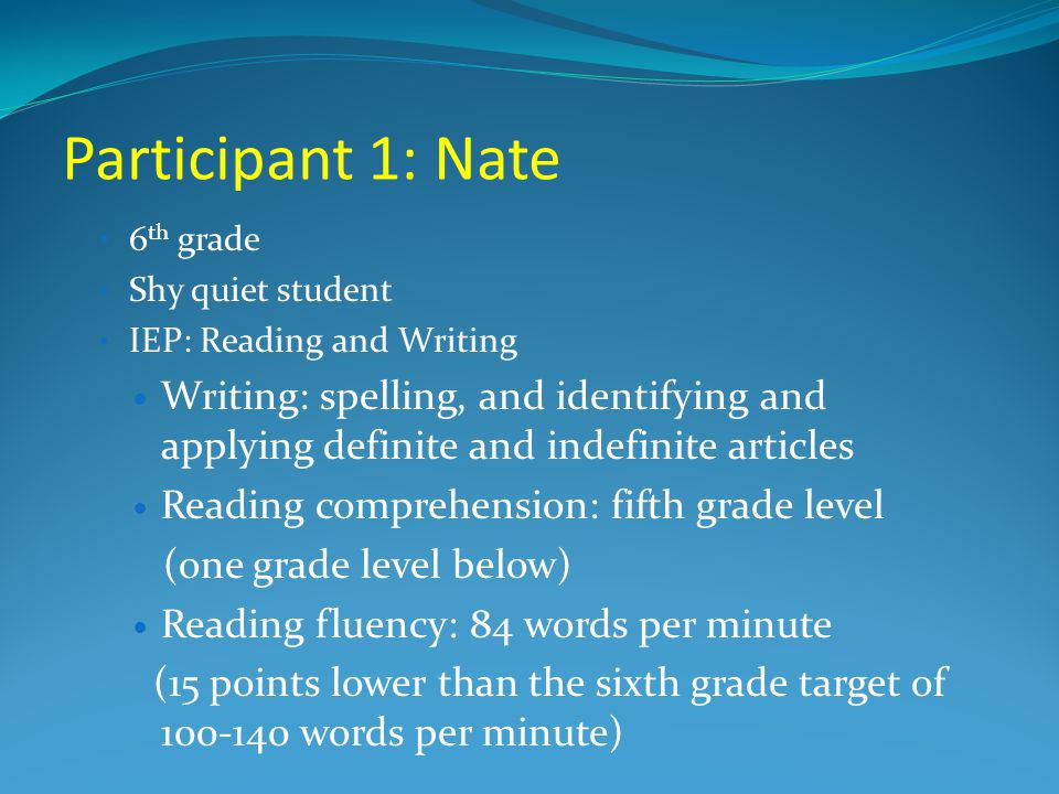 Participant 2: Gayle 6 th grade Social student IEP: Reading, writing, and attention Reading: comprehension and identifying sound- symbol connection Writing: lacks organization, frequently omits topic sentences, transitions, and closing thoughts Attention: staying on task and ignoring the behavior of other students