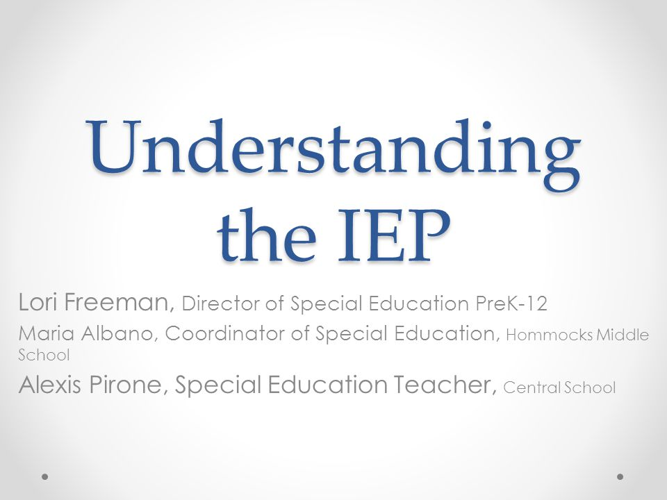 Evaluations and Test Results Evaluations and Test Results The IEP begins with: o Student Demographics o Listing of Evaluations Examples: o Psychological Evaluation o Education Evaluation o Test Results The standardized test results are listed in this section: o Standard Scores, Percentiles and T scores 2
