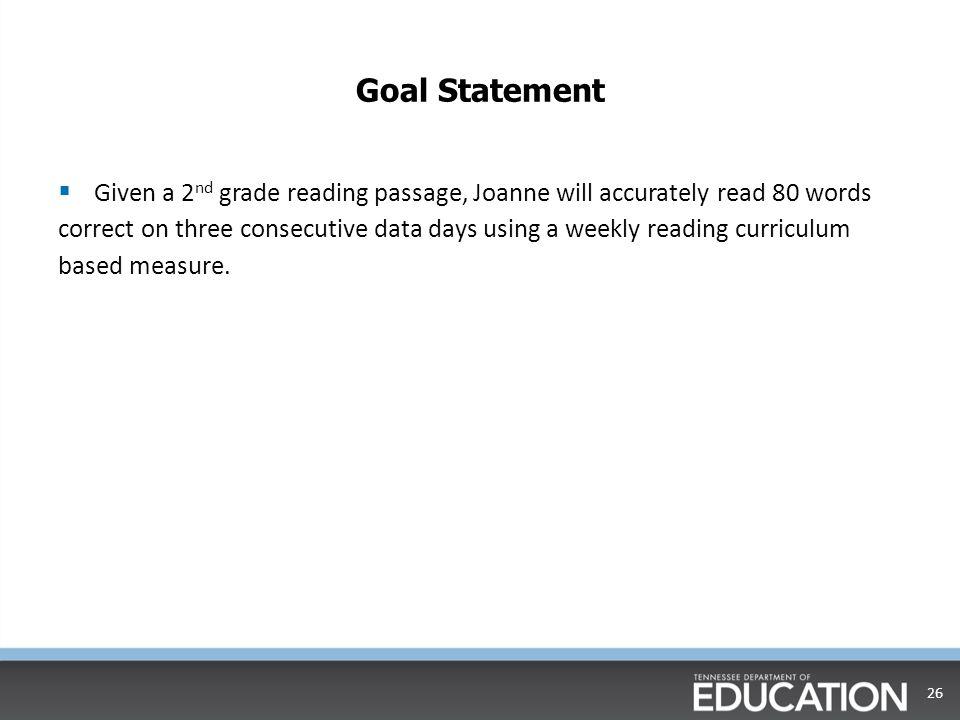 Goal Setting with CBM data  Step Three: Calculate Student Goal 25 ___20______ + __60.12________ = _____80.12________ Initial Score (Goal ROI) X (# of