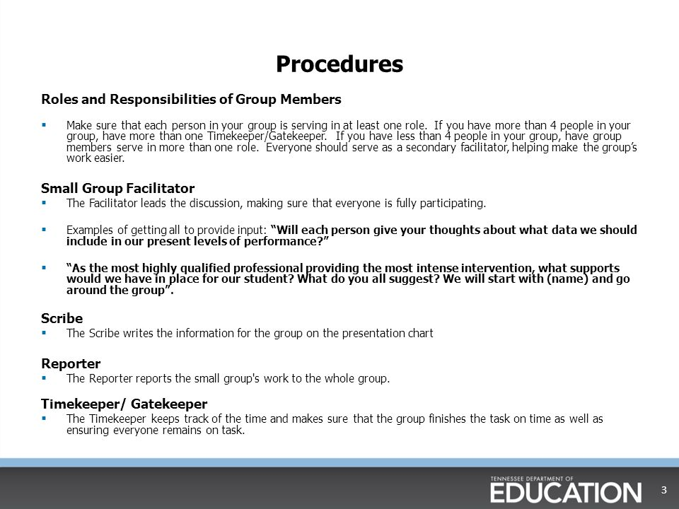Procedures Roles and Responsibilities of Group Members  Make sure that each person in your group is serving in at least one role.