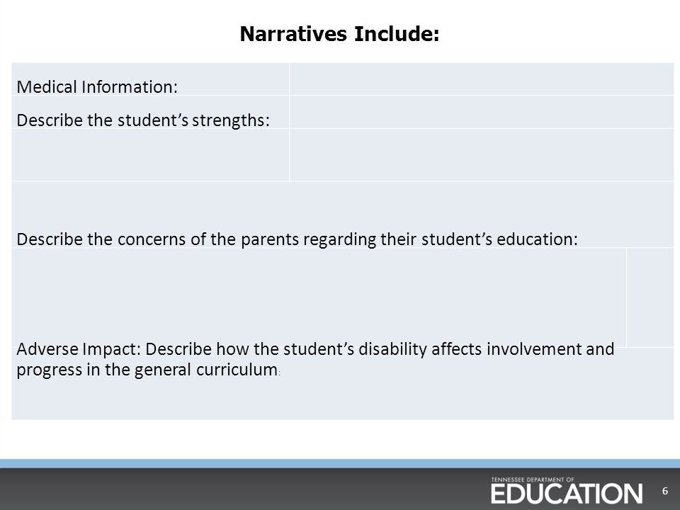 Narratives Include: Medical Information: Describe the student's strengths: Describe the concerns of the parents regarding their student's education: Adverse Impact: Describe how the student's disability affects involvement and progress in the general curriculum : 6
