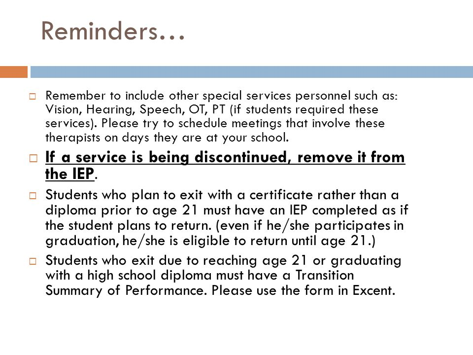IEP Team Members to Invite cont.