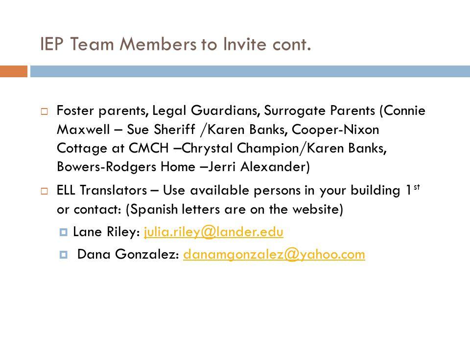 IEP Team Members to Invite cont.