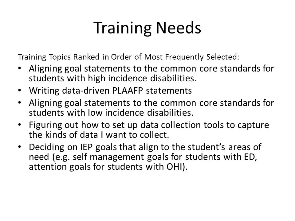 IEP Goal Writing Needs Assessment