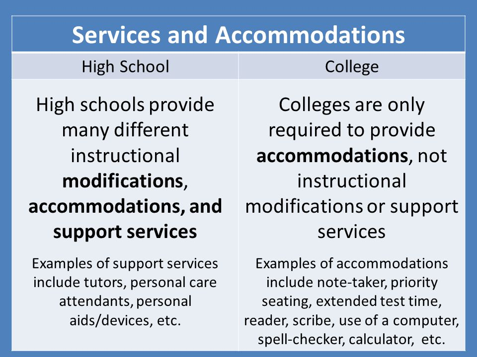 Services and Accommodations High SchoolCollege High schools provide many different instructional modifications, accommodations, and support services Examples of support services include tutors, personal care attendants, personal aids/devices, etc.