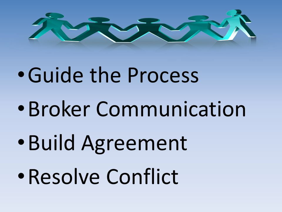 Guide the Process Broker Communication Build Agreement Resolve Conflict