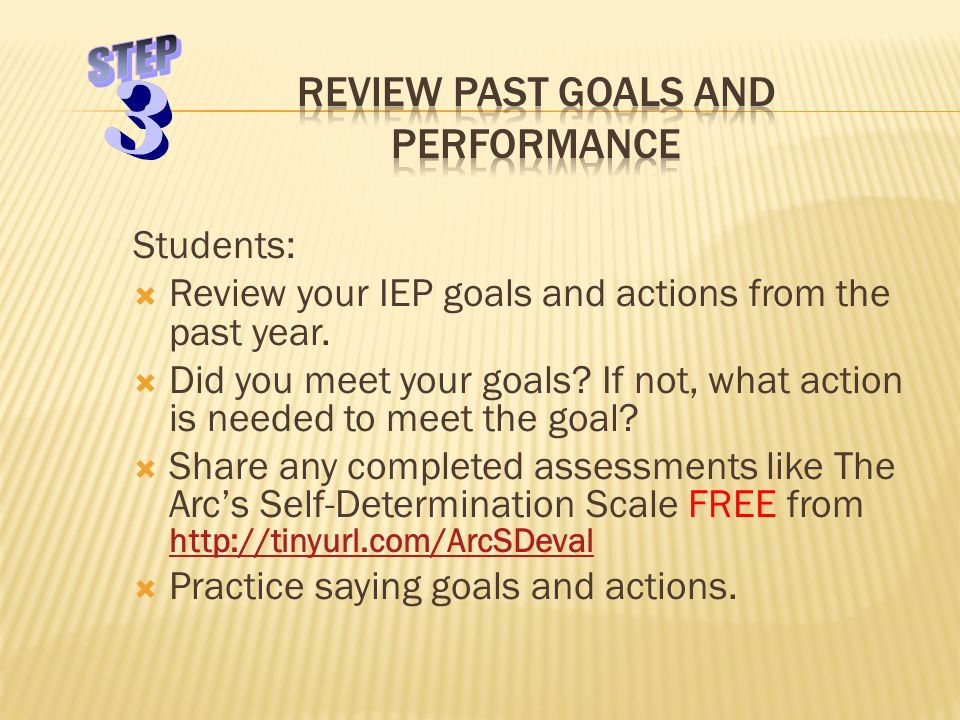 Students:  Review your IEP goals and actions from the past year.