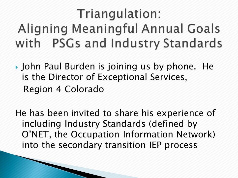  John Paul Burden is joining us by phone.