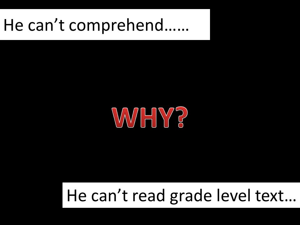 He can't comprehend…… He can't read grade level text…