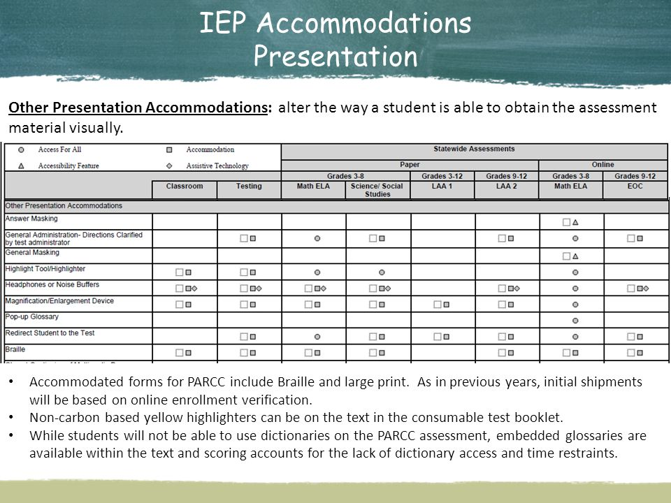 IEP Accommodations Presentation Other Presentation Accommodations: alter the way a student is able to obtain the assessment material visually.
