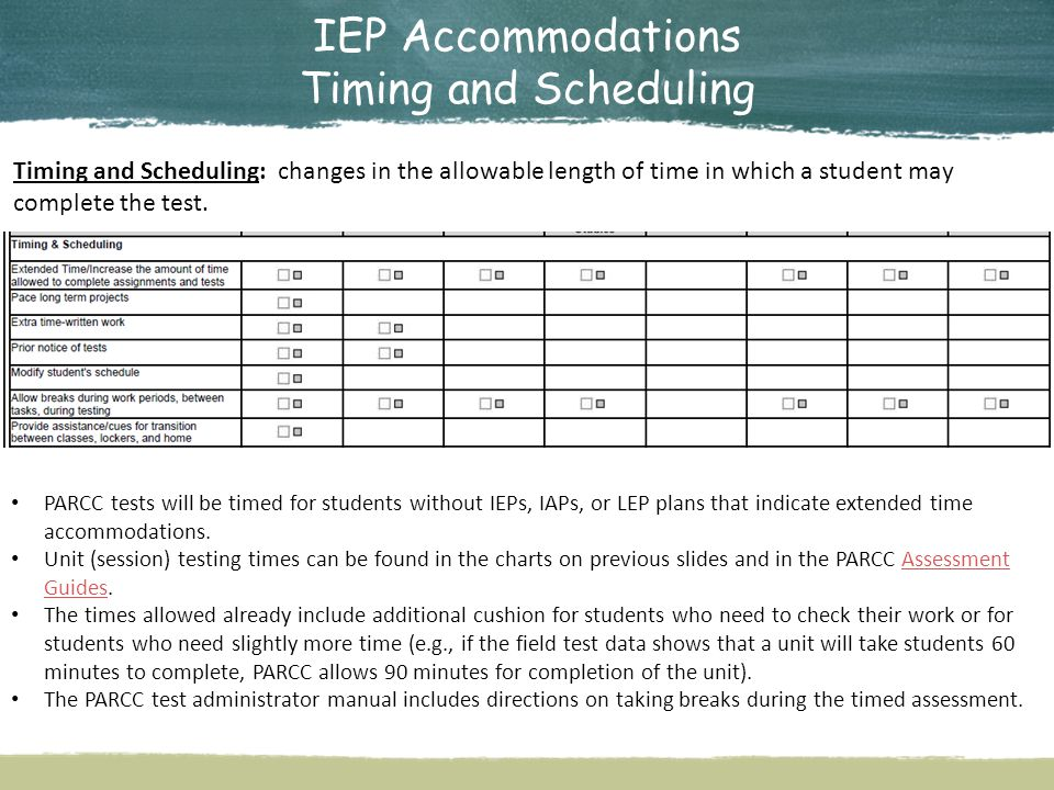 IEP Accommodations Timing and Scheduling Timing and Scheduling: changes in the allowable length of time in which a student may complete the test.