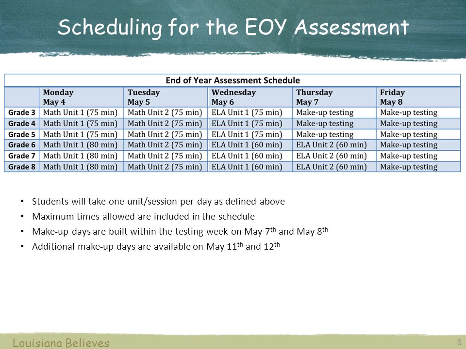 6 Louisiana Believes Students will take one unit/session per day as defined above Maximum times allowed are included in the schedule Make-up days are built within the testing week on May 7 th and May 8 th Additional make-up days are available on May 11 th and 12 th Scheduling for the EOY Assessment