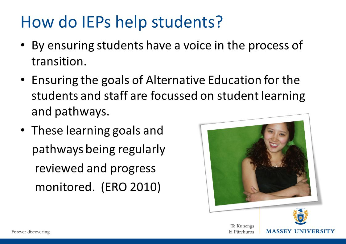 How do IEPs help students. By ensuring students have a voice in the process of transition.