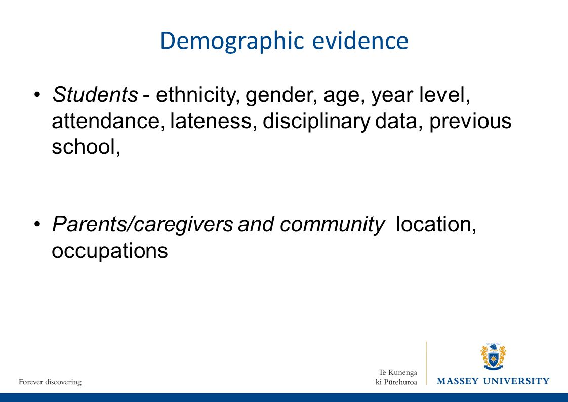 Demographic evidence Students - ethnicity, gender, age, year level, attendance, lateness, disciplinary data, previous school, Parents/caregivers and community location, occupations