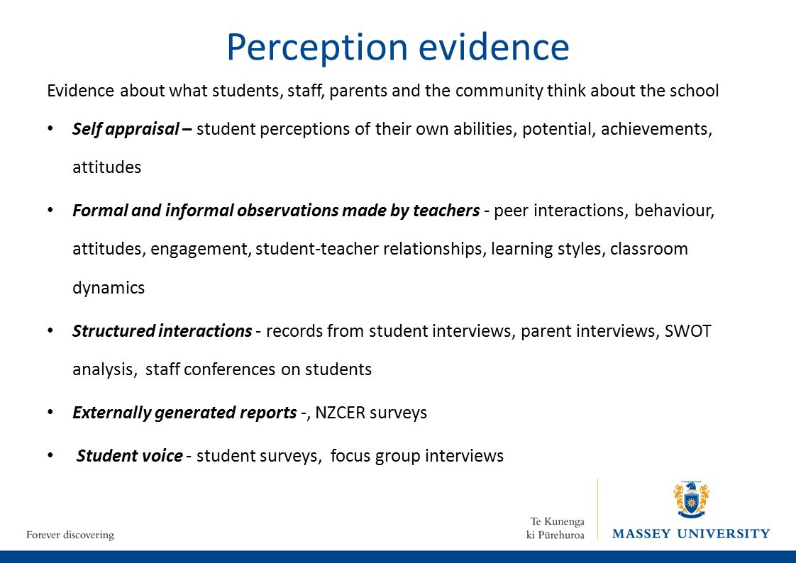 Perception evidence Evidence about what students, staff, parents and the community think about the school Self appraisal – student perceptions of their own abilities, potential, achievements, attitudes Formal and informal observations made by teachers - peer interactions, behaviour, attitudes, engagement, student-teacher relationships, learning styles, classroom dynamics Structured interactions - records from student interviews, parent interviews, SWOT analysis, staff conferences on students Externally generated reports -, NZCER surveys Student voice - student surveys, focus group interviews