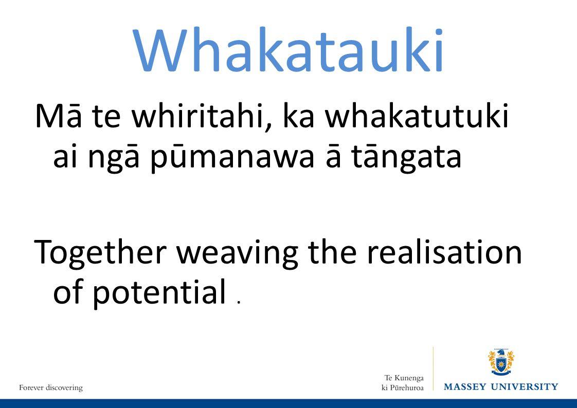 Whakatauki Mā te whiritahi, ka whakatutuki ai ngā pūmanawa ā tāngata Together weaving the realisation of potential.