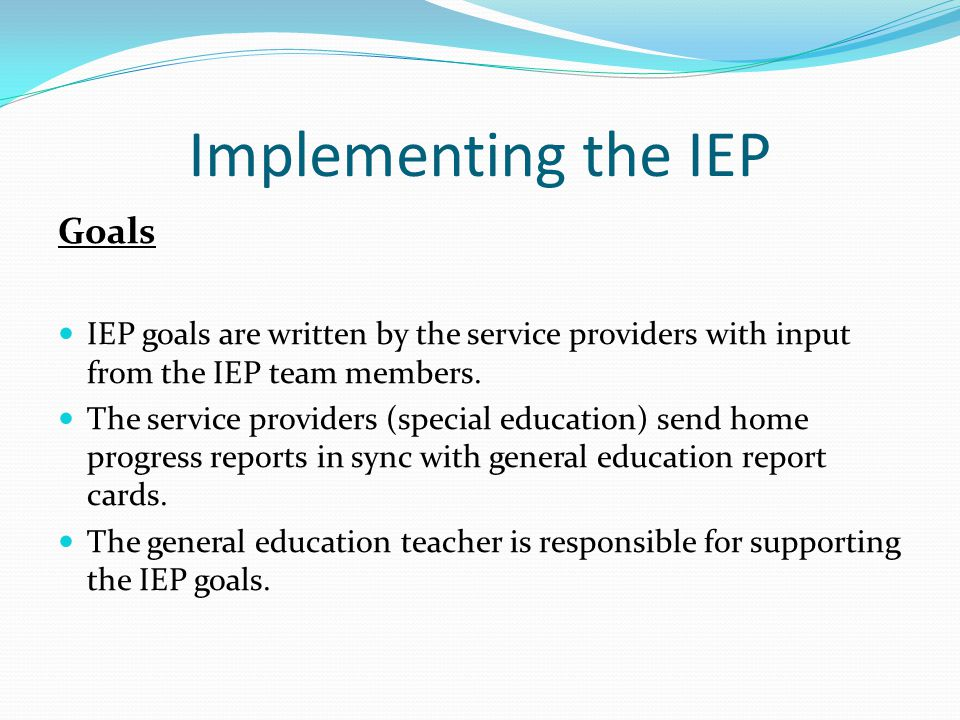 Implementing the IEP Goals IEP goals are written by the service providers with input from the IEP team members. The service providers (special educati