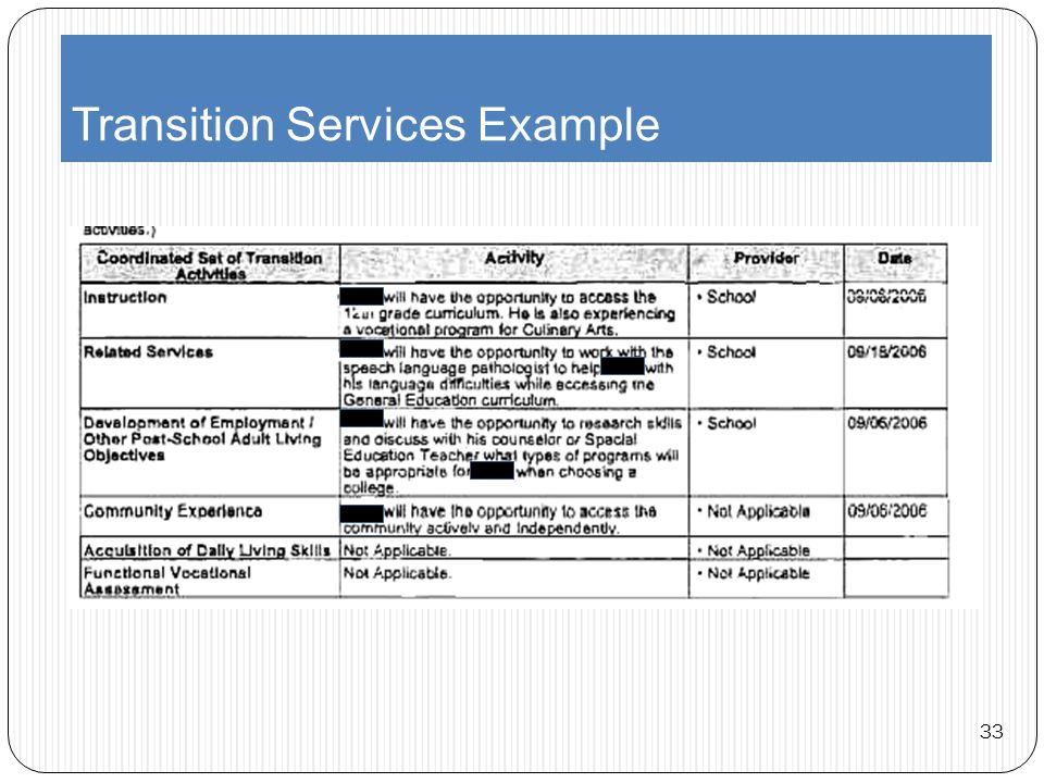 Transition Services Example 33