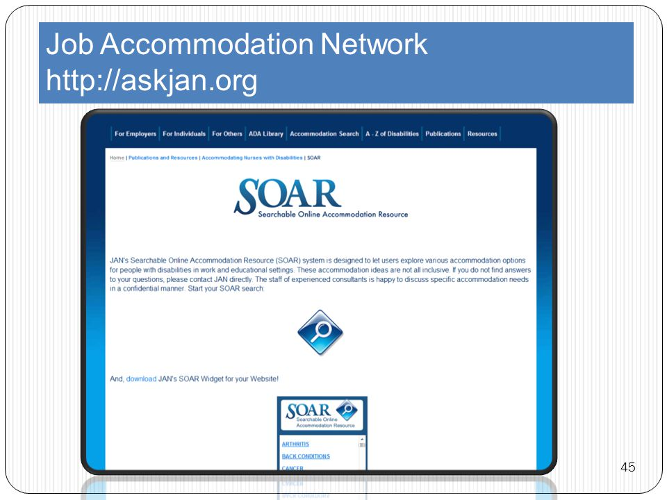 Job Accommodation Network http://askjan.org 45
