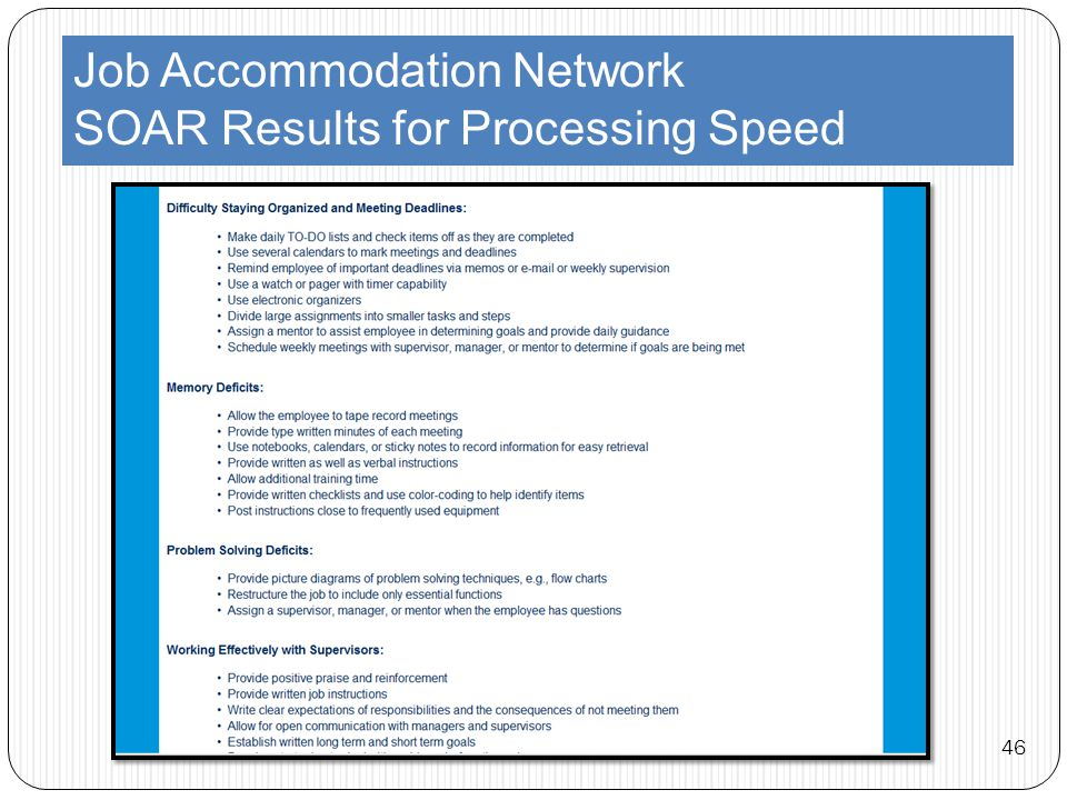 Job Accommodation Network SOAR Results for Processing Speed 46