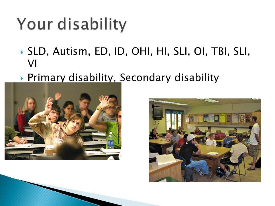  SLD, Autism, ED, ID, OHI, HI, SLI, OI, TBI, SLI, VI  Primary disability, Secondary disability