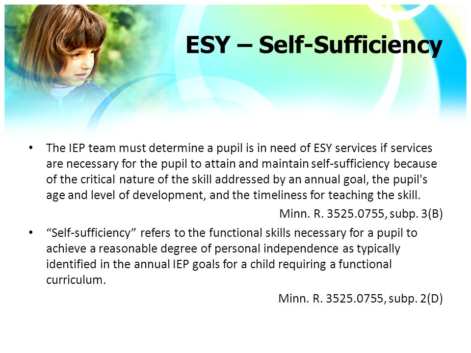 ESY – Self-Sufficiency The IEP team must determine a pupil is in need of ESY services if services are necessary for the pupil to attain and maintain self-sufficiency because of the critical nature of the skill addressed by an annual goal, the pupil s age and level of development, and the timeliness for teaching the skill.