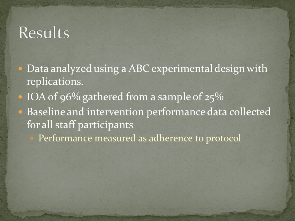 Data analyzed using a ABC experimental design with replications. IOA of 96% gathered from a sample of 25% Baseline and intervention performance data c