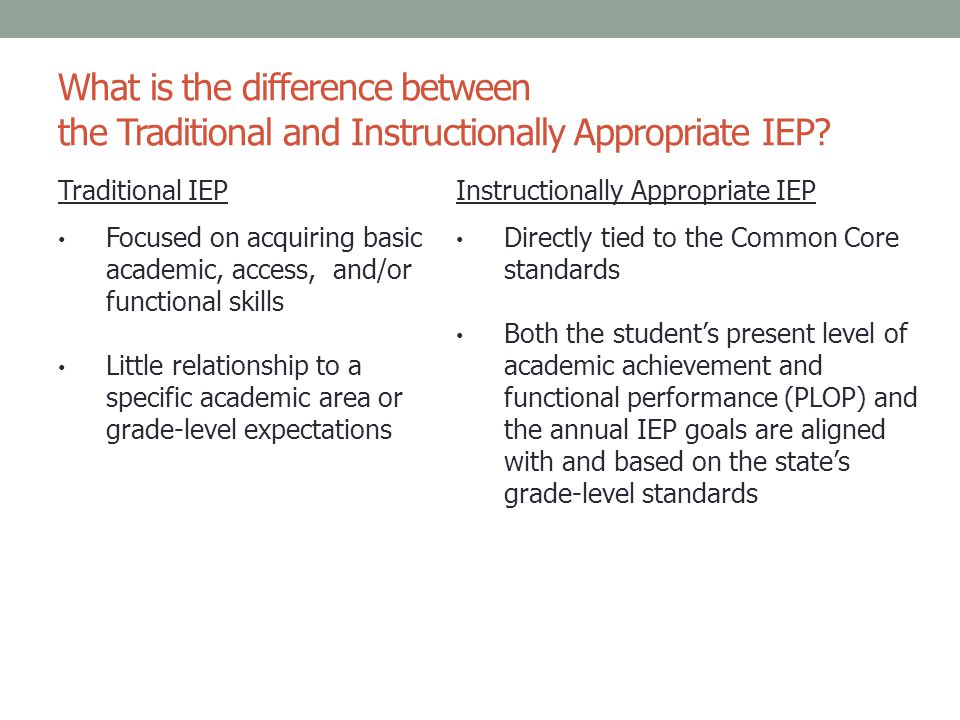 What is the difference between the Traditional and Instructionally Appropriate IEP? Traditional IEPInstructionally Appropriate IEP Focused on acquirin
