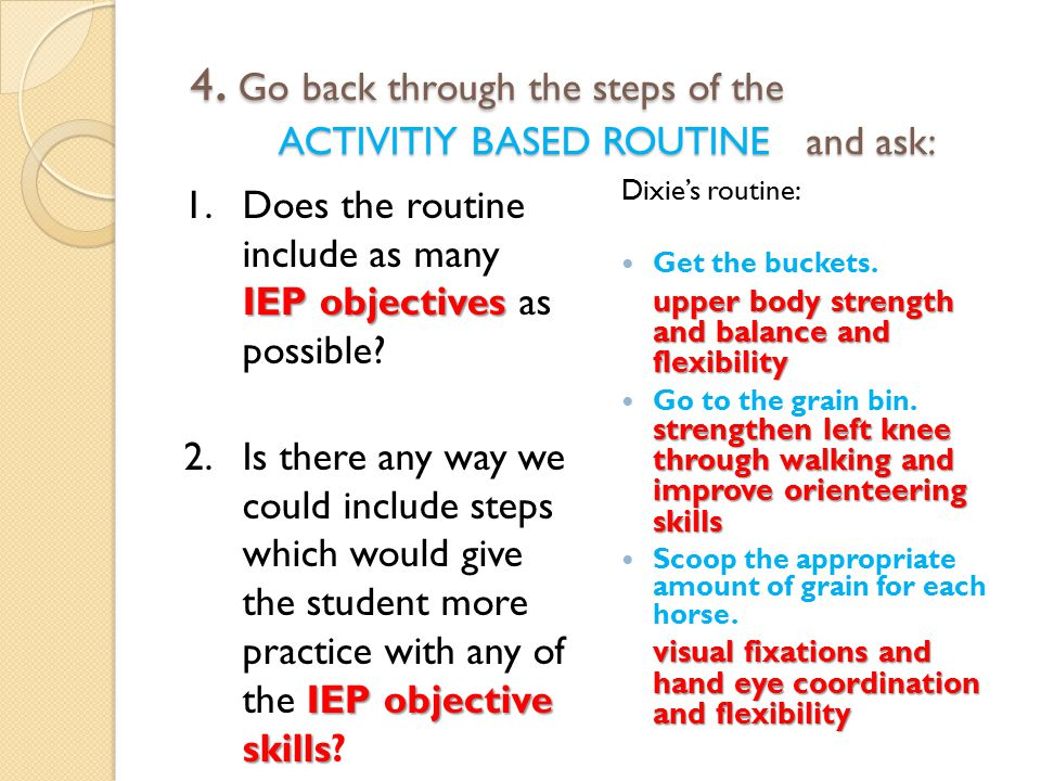 4. Go back through the steps of the ACTIVITIY BASED ROUTINE and ask: 4.