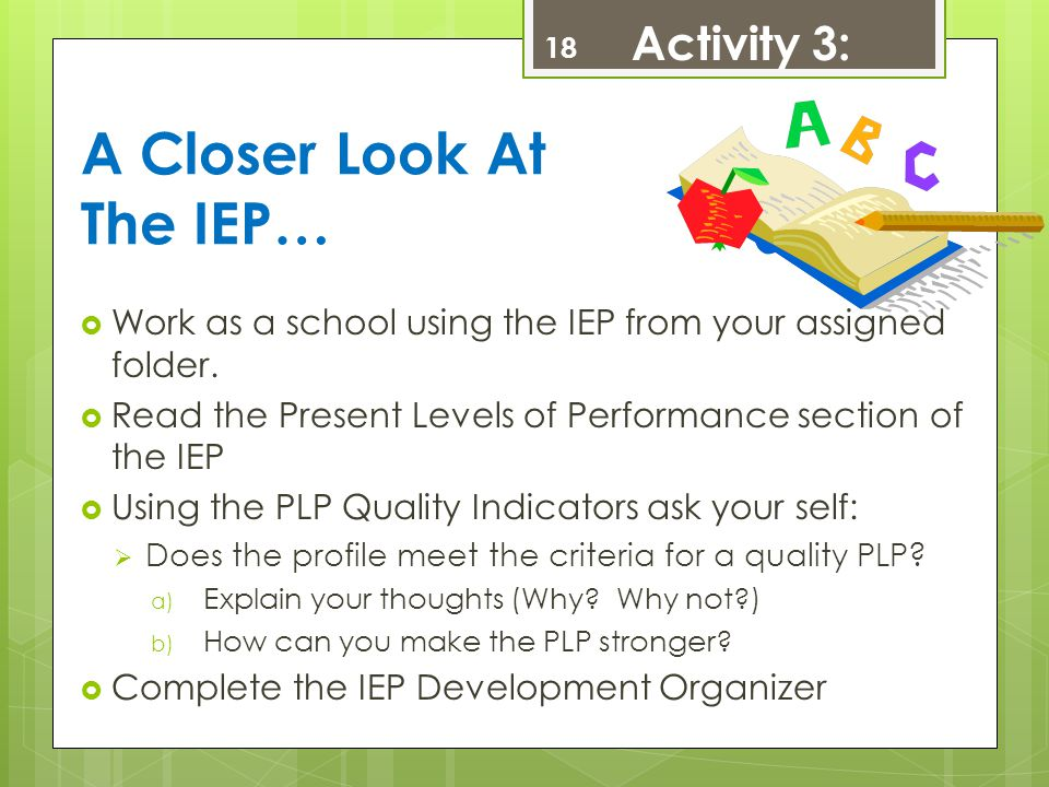 A Closer Look At The IEP…  Work as a school using the IEP from your assigned folder.  Read the Present Levels of Performance section of the IEP  Us