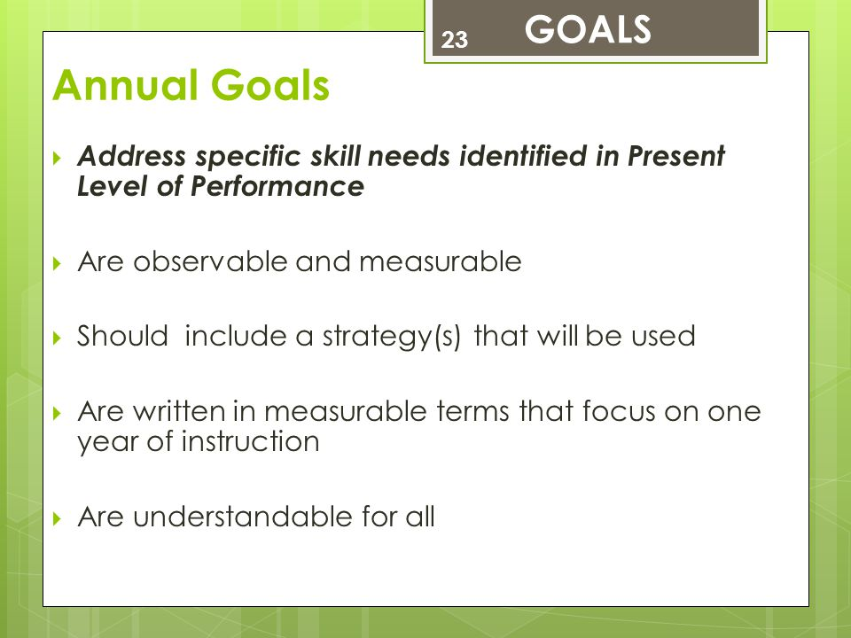 Annual Goals 23  Address specific skill needs identified in Present Level of Performance  Are observable and measurable  Should include a strategy(