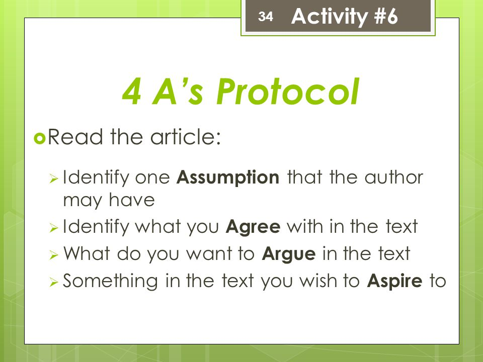 4 A's Protocol  Read the article:  Identify one Assumption that the author may have  Identify what you Agree with in the text  What do you want to