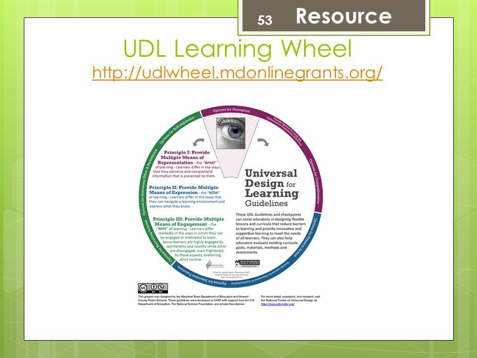 UDL Learning Wheel http://udlwheel.mdonlinegrants.org/ http://udlwheel.mdonlinegrants.org/ 53 Resource