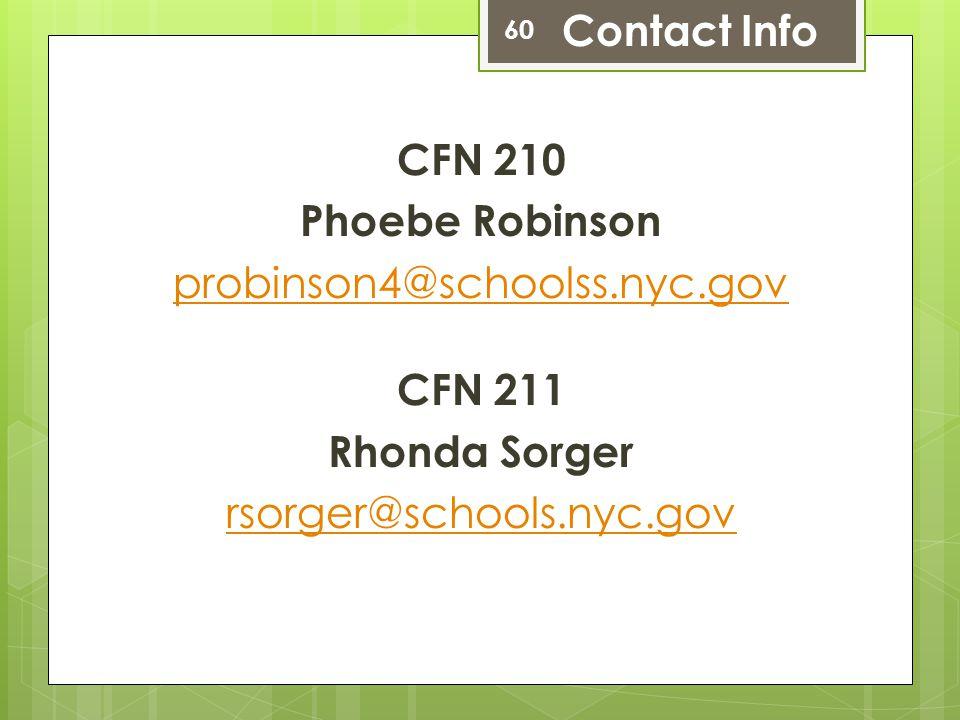 CFN 210 Phoebe Robinson probinson4@schoolss.nyc.gov CFN 211 Rhonda Sorger rsorger@schools.nyc.gov 60 Contact Info