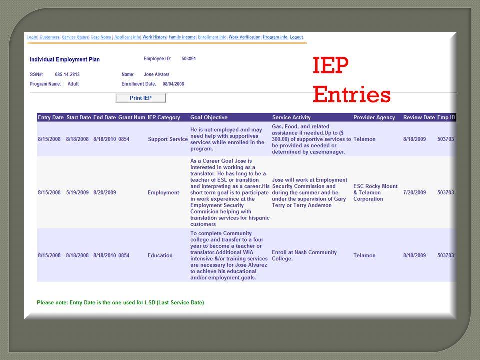 IEP Entries