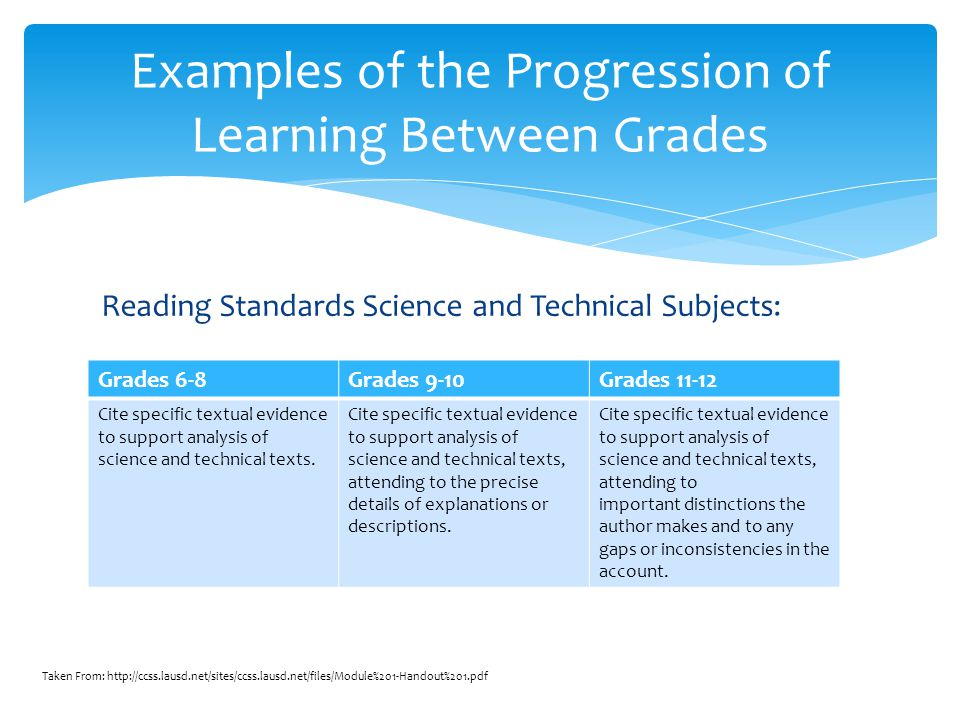 Reading Standards Science and Technical Subjects: Examples of the Progression of Learning Between Grades Grades 6-8Grades 9-10Grades 11-12 Cite specif