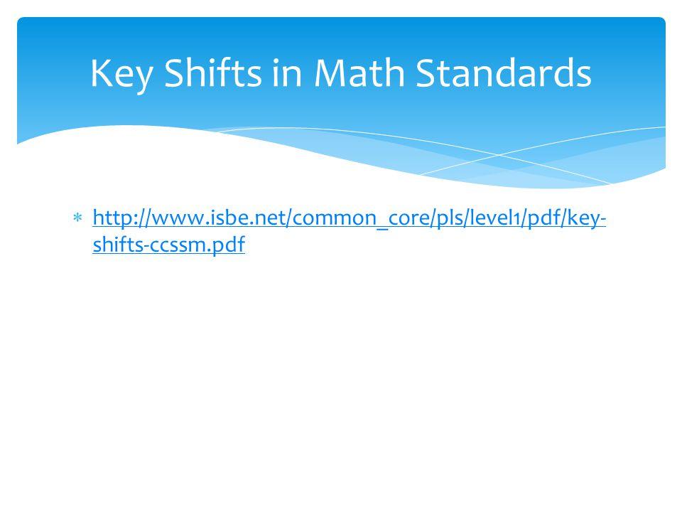  http://www.isbe.net/common_core/pls/level1/pdf/key- shifts-ccssm.pdf http://www.isbe.net/common_core/pls/level1/pdf/key- shifts-ccssm.pdf Key Shifts