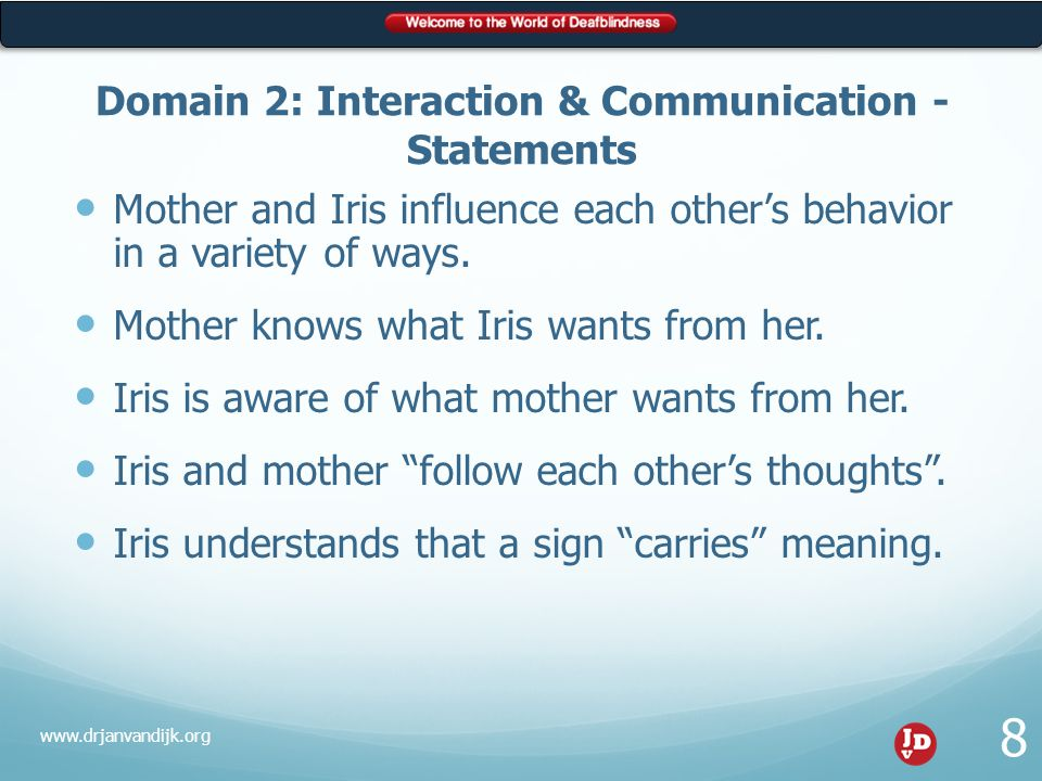 Correct Statements Mother and Iris influence each other's behavior in a variety of ways.