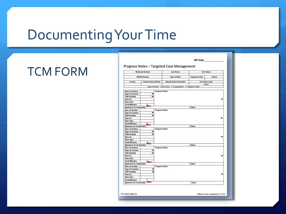 Documenting Your Time TCM FORM