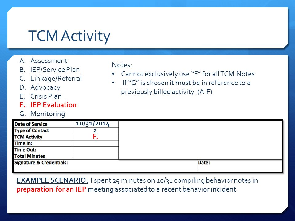 TCM Activity EXAMPLE SCENARIO: I spent 25 minutes on 10/31 compiling behavior notes in preparation for an IEP meeting associated to a recent behavior incident.