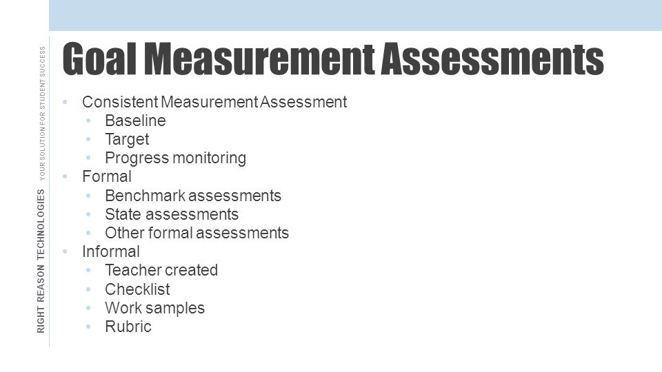 RIGHT REASON TECHNOLOGIES YOUR SOLUTION FOR STUDENT SUCCESS Goal Measurement Assessments Consistent Measurement Assessment Baseline Target Progress monitoring Formal Benchmark assessments State assessments Other formal assessments Informal Teacher created Checklist Work samples Rubric