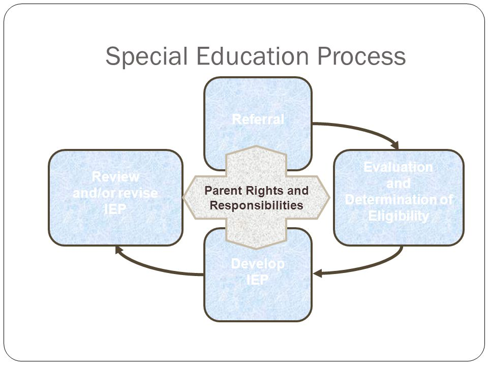 Special Education Process Evaluation and Determination of Eligibility Review and/or revise IEP Referral Develop IEP Parent Rights and Responsibilities