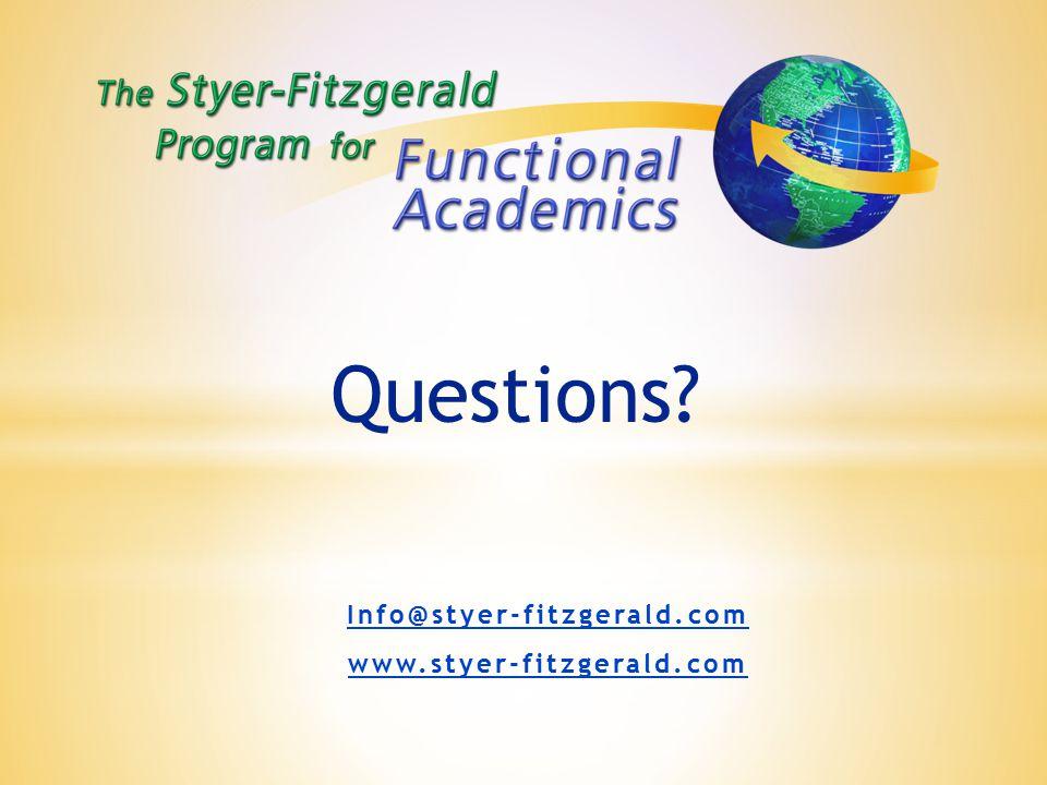 Info@styer-fitzgerald.com www.styer-fitzgerald.com Questions?