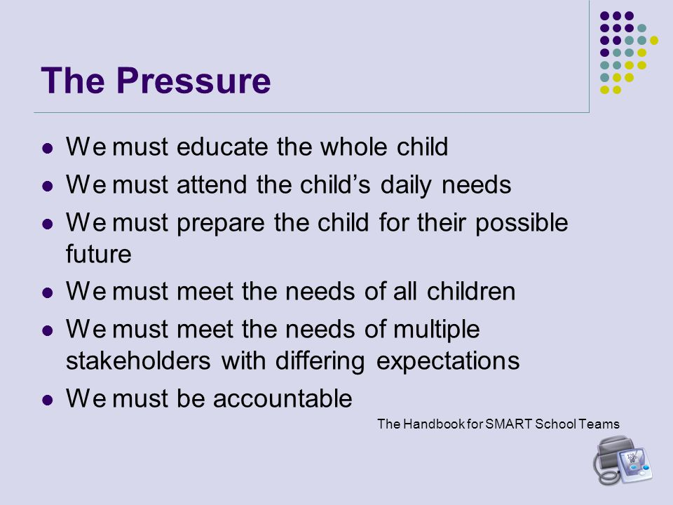 The Pressure We must educate the whole child We must attend the child's daily needs We must prepare the child for their possible future We must meet the needs of all children We must meet the needs of multiple stakeholders with differing expectations We must be accountable The Handbook for SMART School Teams