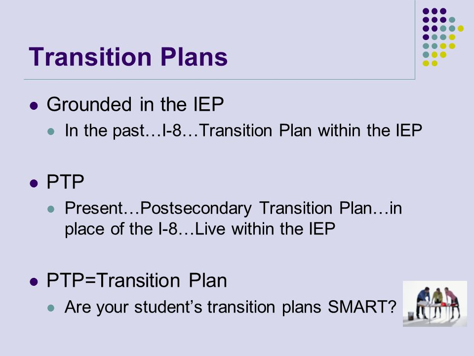 SMART Process S=Strategic and Specific-Transition Assessment M=Measurable-Measurable Post School Goals A=Attainable-Transition Services/Course of study R=Results Based-Monitoring Progress of Transition T=Timebound-Attainable at each Individual Student's Graduation