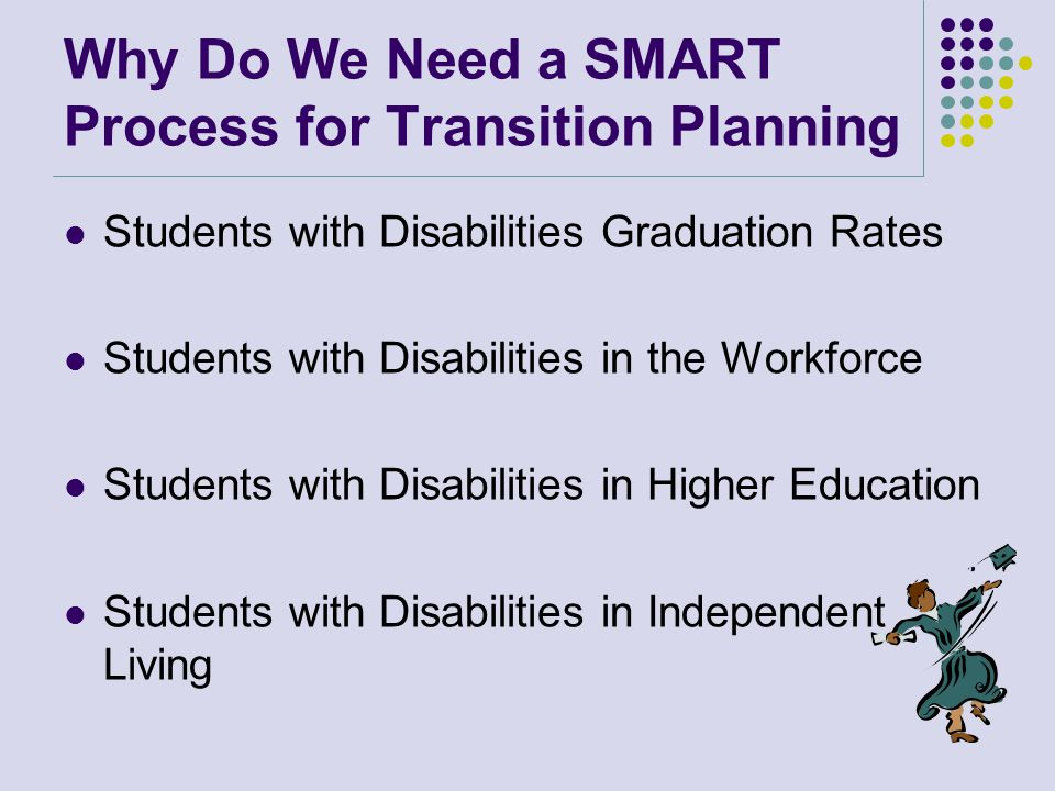 Why Do We Need a SMART Process for Transition Planning Students with Disabilities Graduation Rates Students with Disabilities in the Workforce Students with Disabilities in Higher Education Students with Disabilities in Independent Living