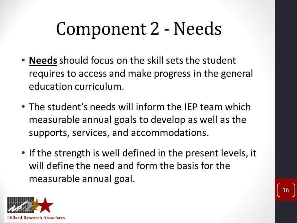 Component 2 - Needs Needs should focus on the skill sets the student requires to access and make progress in the general education curriculum.